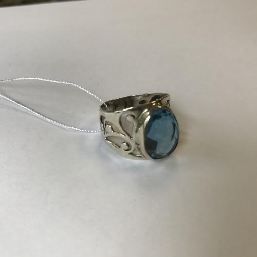 Кольцо голубой топаз - Израиль